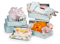 Inside the tower of baby gifts