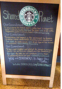 Local Starbucks Shared Planet sign