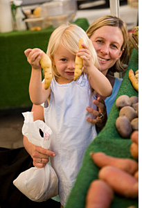 Child with mother at Farmer's Market