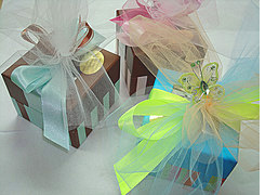 Presentation boxes with tulle bows