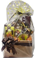 Cello-wrapped gift basket