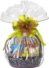 Cello-wrapped gift basket