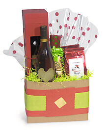 Gift basket with wine box