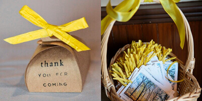 Favor Boxes and Programs Tied with Raffia