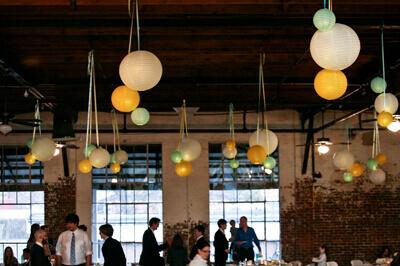 Paper Lanterns Tied with Satin Ribbon