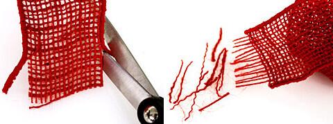 Burlap ribbon fringe