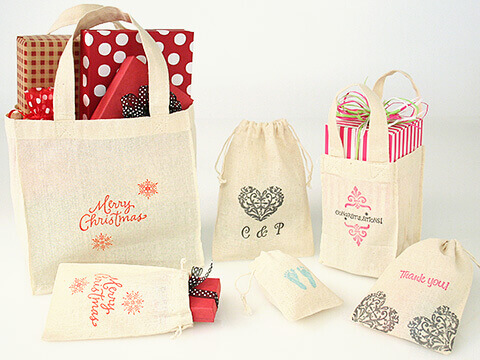 Hand Stamped Cotton Bags