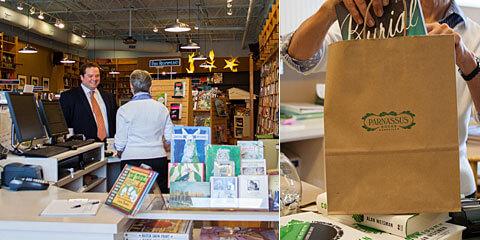 Nashville Wraps bags at work in Parnassus Books