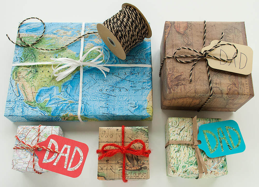 Map Gift Wrap for Father's Day