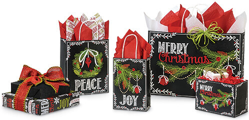 Chalkboard Christmas Wrapping Paper Bags