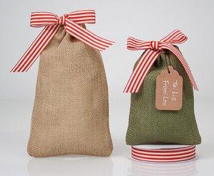 """Mini """"Santa sacks"""" using burlap bags"""