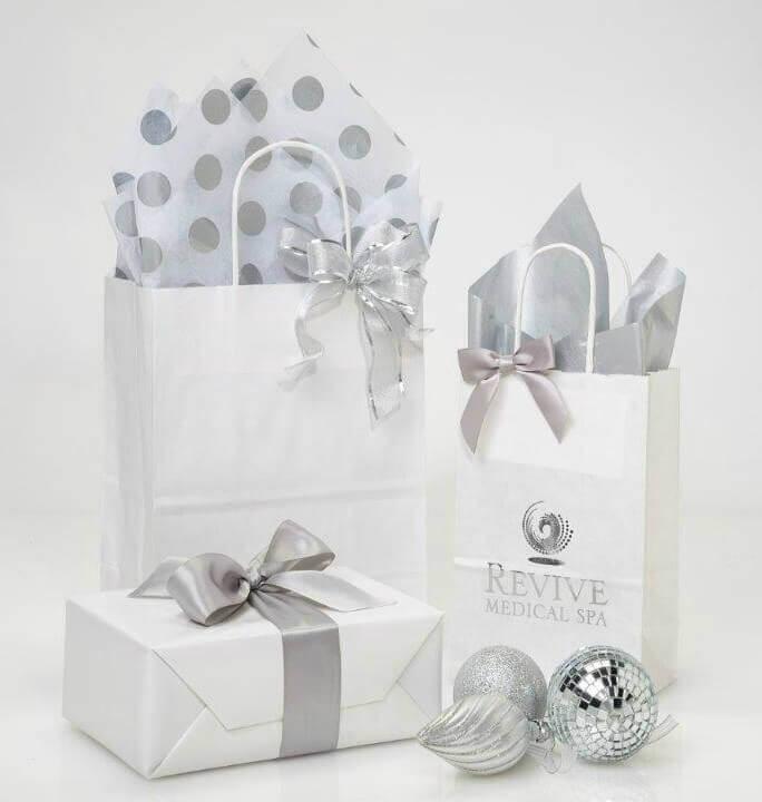 Metallic Silver Shopping Bags