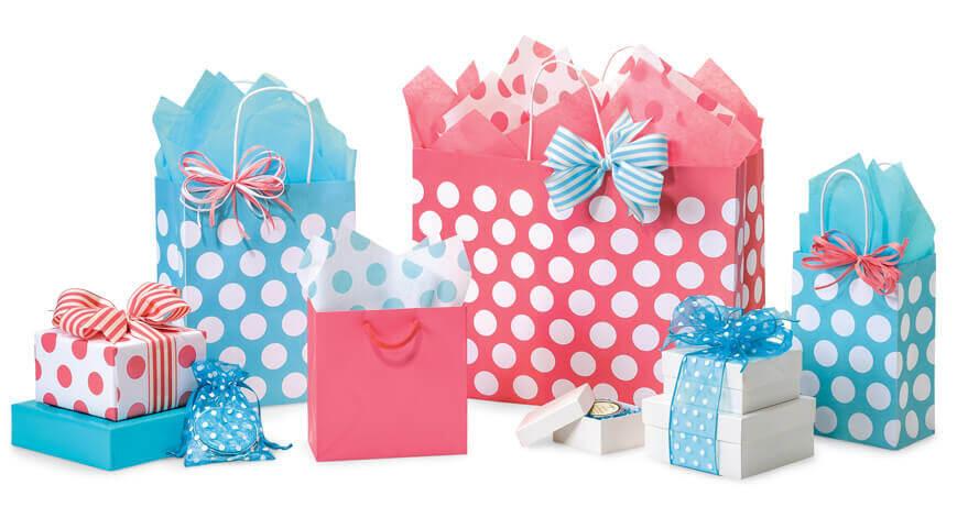 Polka Dot Bags Turquoise Coral
