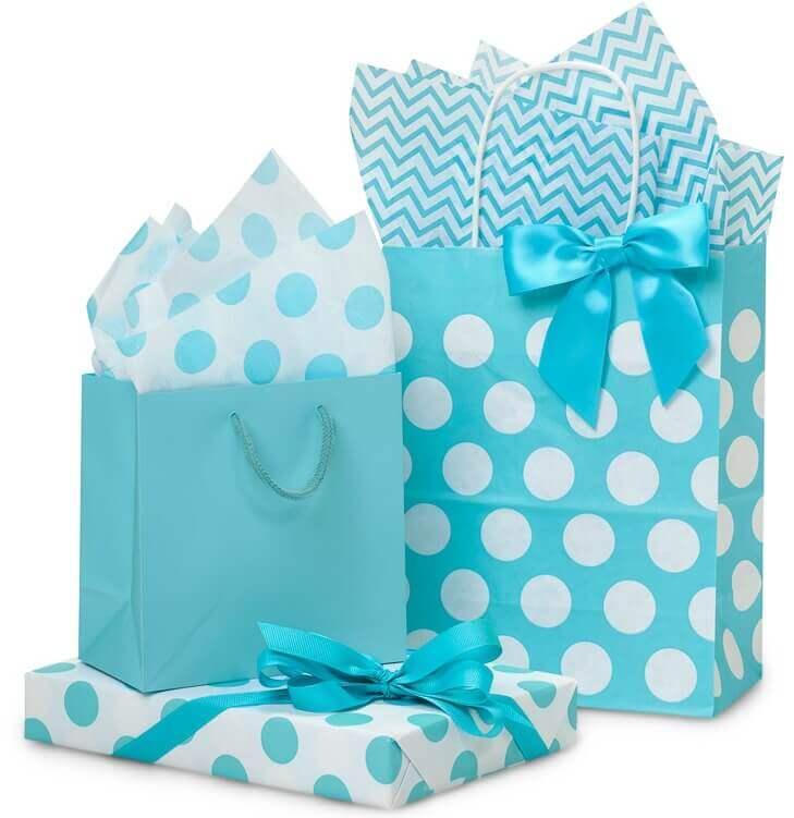 Turquoise Polka Dot Bags