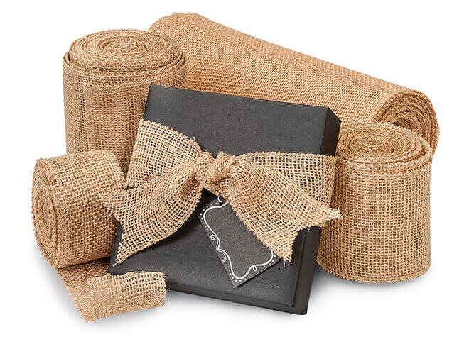Burlap Ribbon on Black Kraft