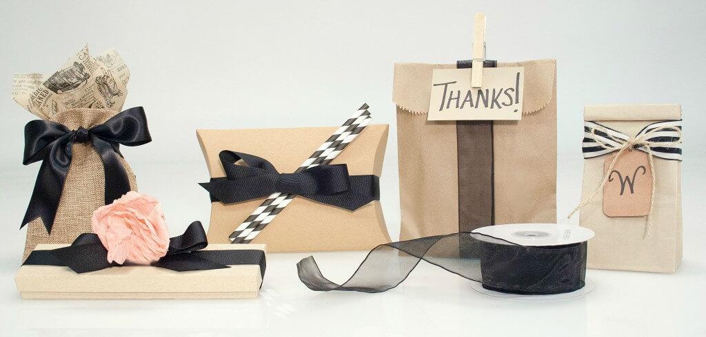 Kraft Packaging with Black Ribbon
