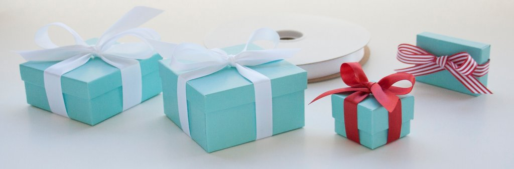 Classic aqua boxes with white satin ribbon