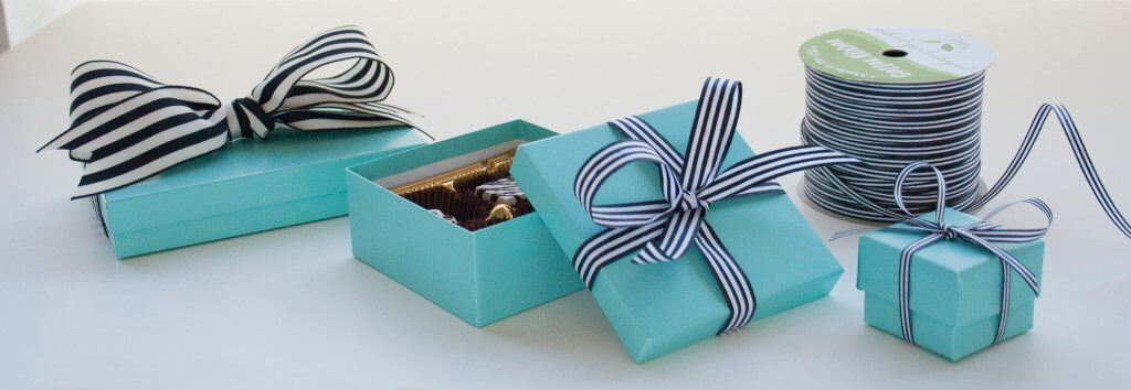 Aqua boxes with black & white ribbon
