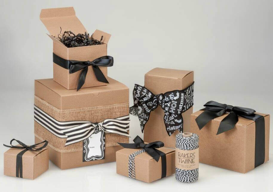 Kraft Gift Boxes Black Ribbon