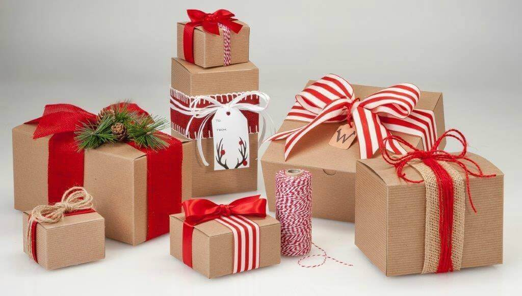 Kraft Gift Boxes Red Ribbon
