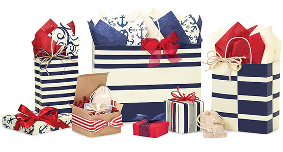 Blue Indigo Stripe Shopping Bags