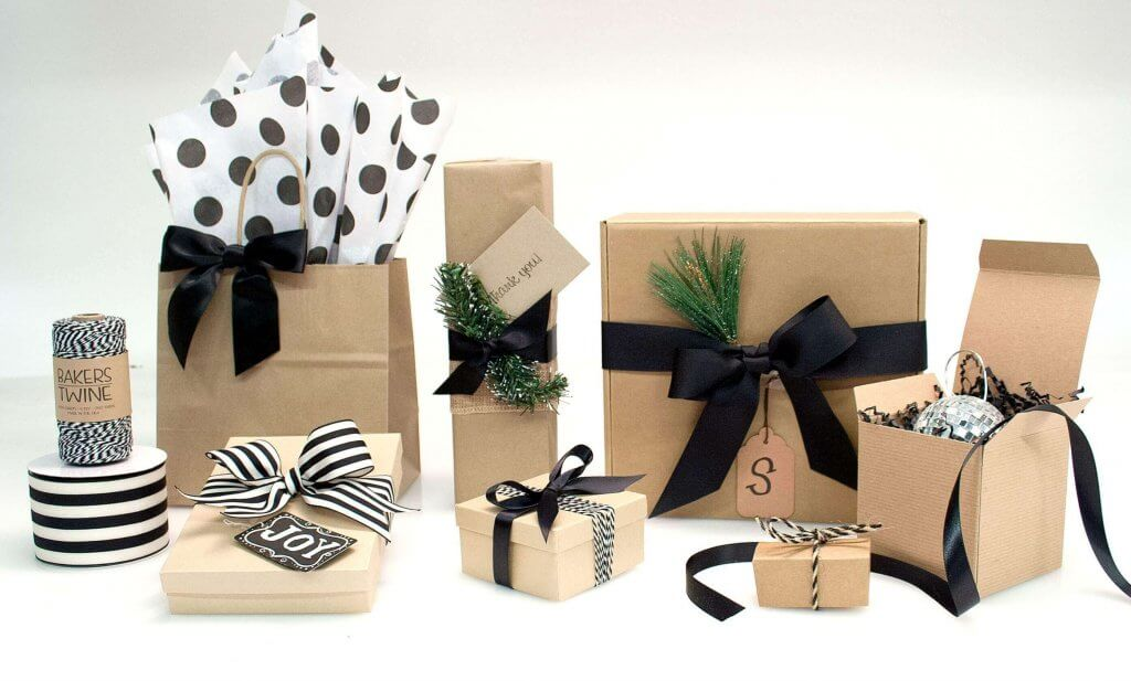 Kraft Boxes with Black Ribbon