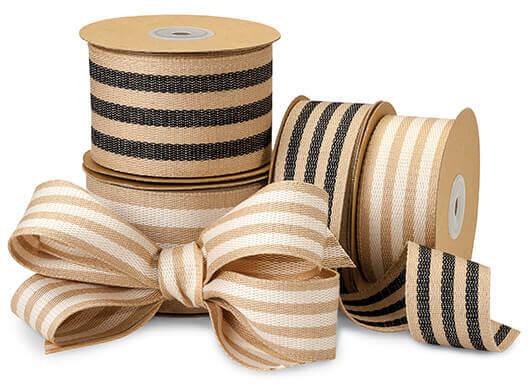 Burlap Stripes Ribbon