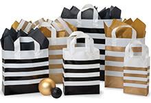 Metallic Gold Stripe Plastic Bags