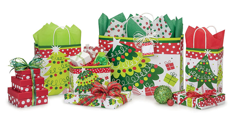Jolly-Christmas-Trees Shopping Bags