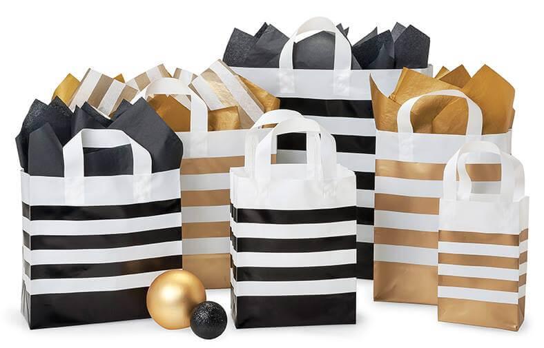 Gold Stripe Plastic Bags