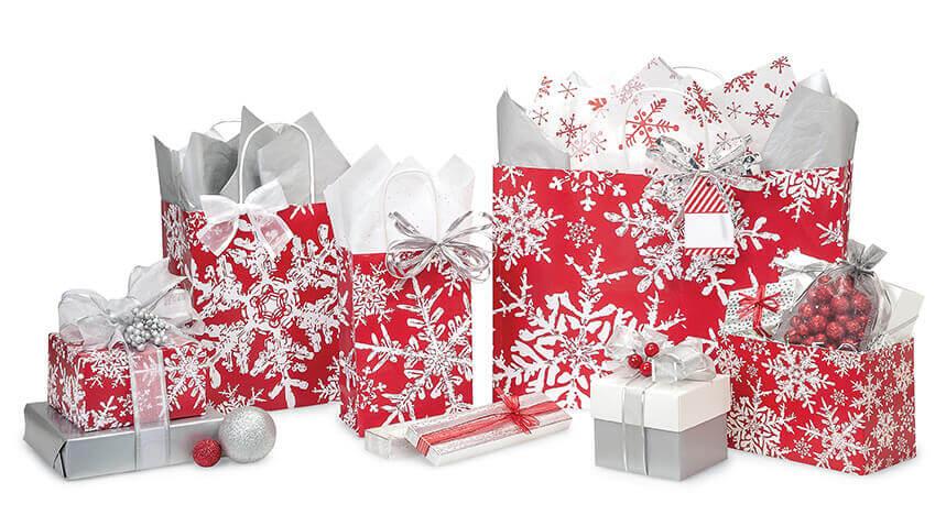 Christmas Snowflake Gift Wrap Bags Ribbon