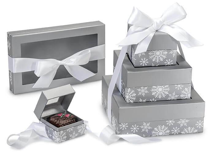 Silver Christmas Snowflake Boxes