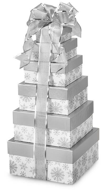 Silver Snowflake Gift Box Tower