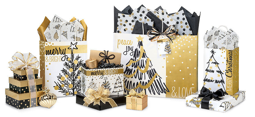 Golden Holiday Trees Shopping Bags