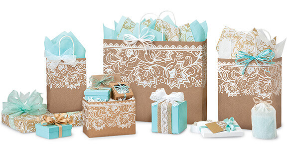 Lace Borders Paper Shopping Bags
