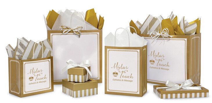 Gold & White Duets Shopping Bags