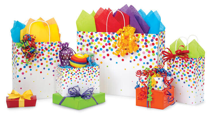 Rainbow Confetti Shopping Bags