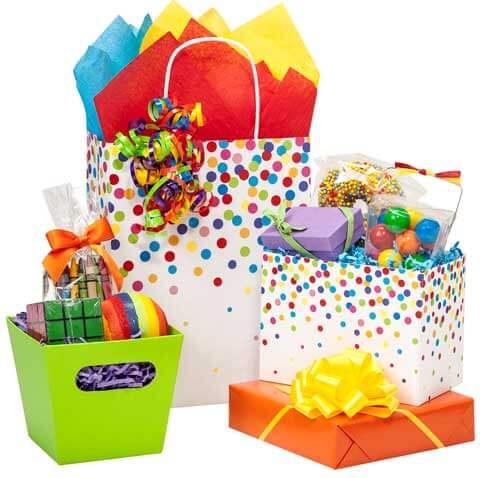 Rainbow Confetti Paper Shopping Bags