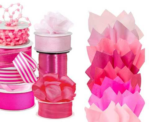 Pink Ribbon & Tissue Paper
