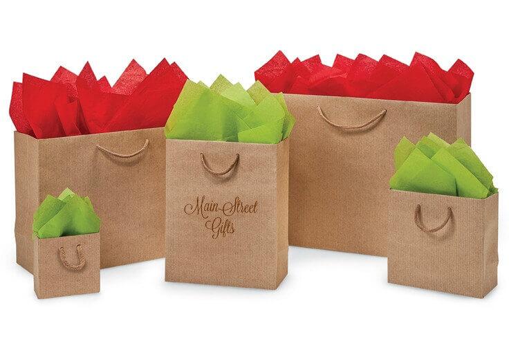 Kraft Pinstripe Gift Bags Printed