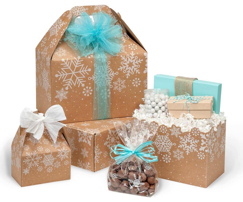Kraft Snowflakes Basket Boxes