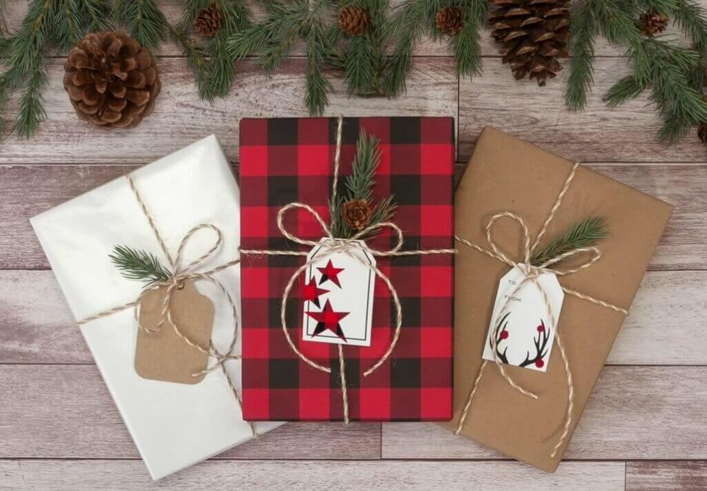 Buffalo Plaid Gift Wrap with White and
