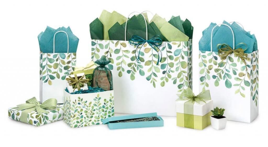 Watercolor Greenery Shopping Bags