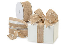 Wired Burlap Pearl Edge Ribbon