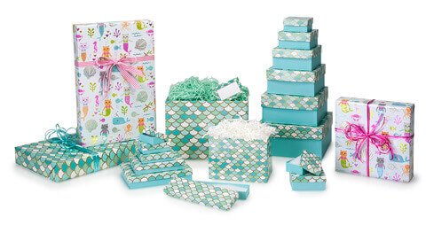 Mermaid jewelry boxes, mermaid gift boxes, mermaid basket boxes, shred, furmaids gift wrap, mermaid packaging, nashville wraps