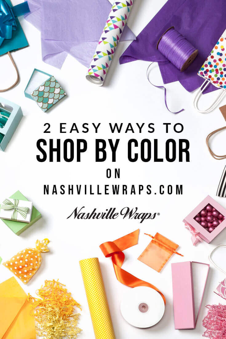 Nashville Wraps website is easy to shop by color! Find packaging in the colors you need for shopping bags, gift wrap, tissue paper, gift boxes & ribbon!