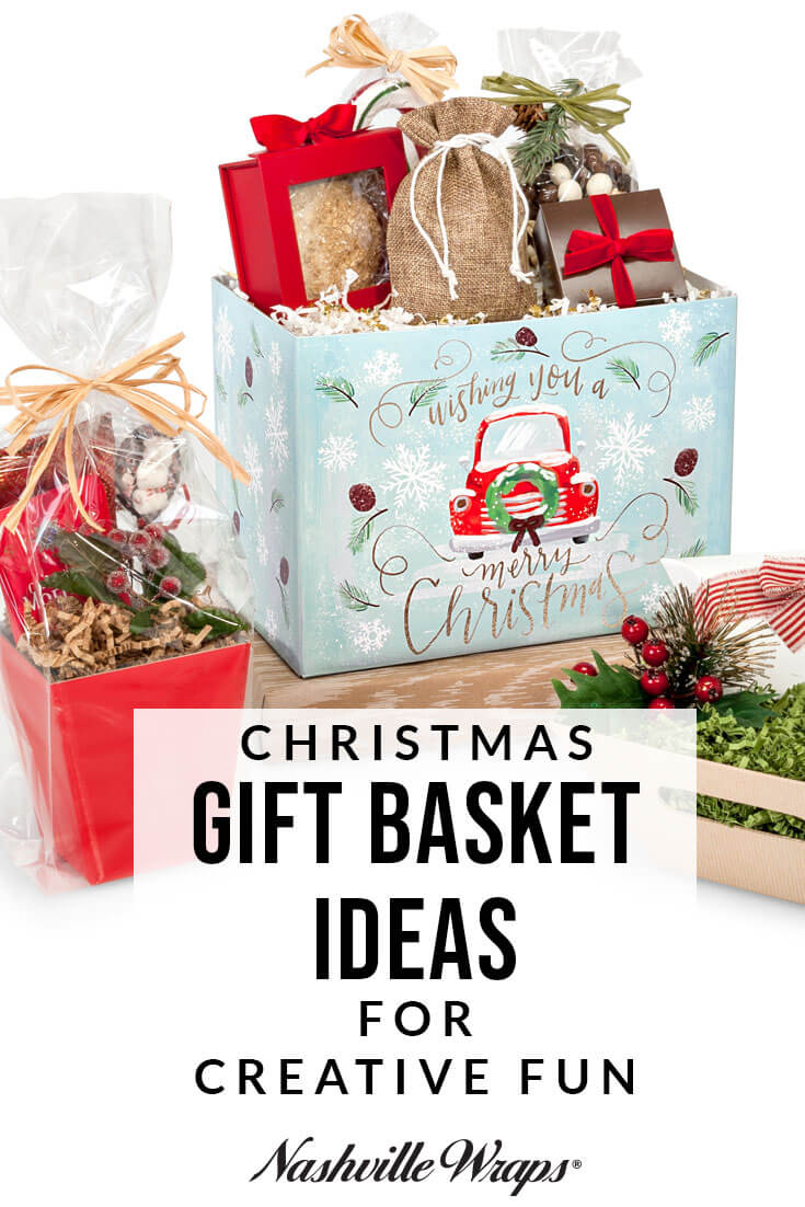 Fun & creative Christmas gift basket ideas for all your holiday gift baskets. Nashville Wraps is your source for wholesale gift basket supplies!