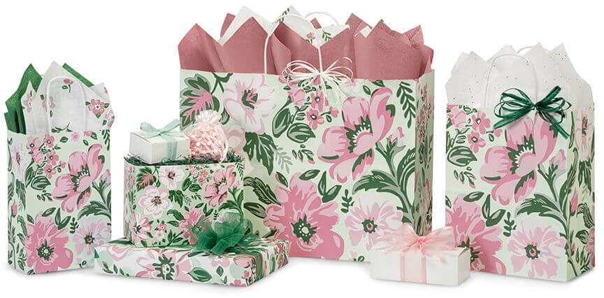 fresh mint floral shopping bags