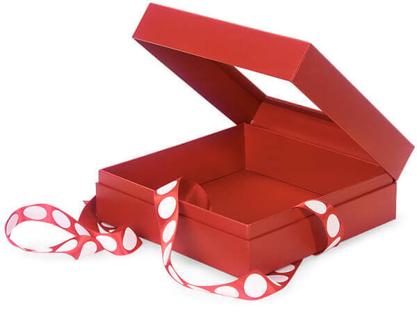 red gourmet presentation boxes