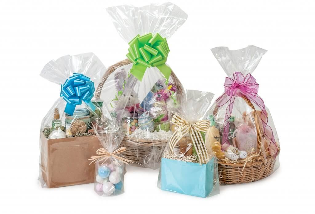 Clear poly basket bags to finish your Easter basket presentations from Nashville Wraps!